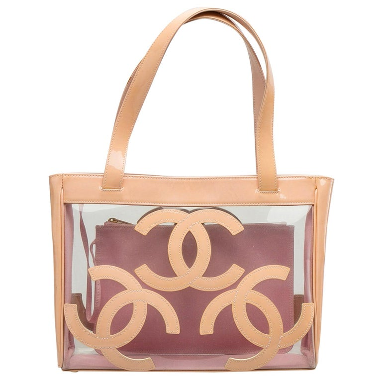 Chanel Peach PVC and Patent Leather Medium Triple CC Tote For Sale