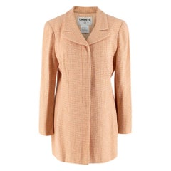 Chanel Peach Tweed Longline Tailored Button Down Jacket - Size US 10
