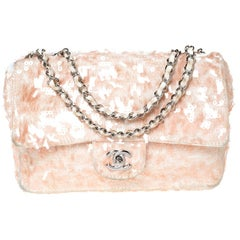 Chanel Peach/White Fabric and Sequins Medium Classic Single Flap Bag