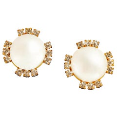 Chanel Pearl and Crystal Clip On Earrings