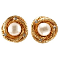 Chanel Pearl and Crystal Gold Knot Earrings