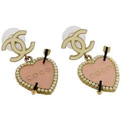 Chanel Pearl and Enamel Heart CC Dangling Earrings