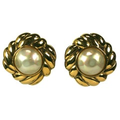 Chanel Pearl and Gilt Earrings