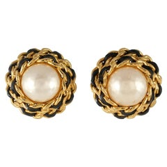 Chanel Pearl and Leather Chain Vintage Earrings