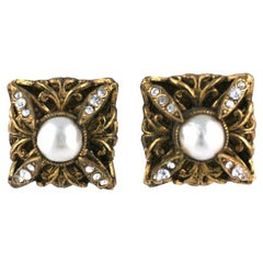 Chanel Pearl and Paste Earrings