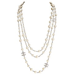 Chanel Pearl and Silver Triple Strand CC Necklace