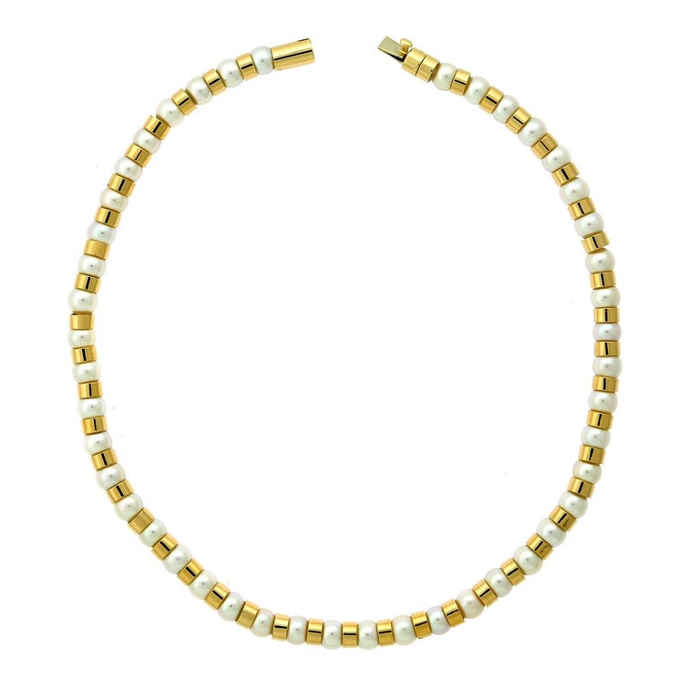 Chanel Pearl Bead Yellow Gold Necklace In Excellent Condition For Sale In Feasterville, PA