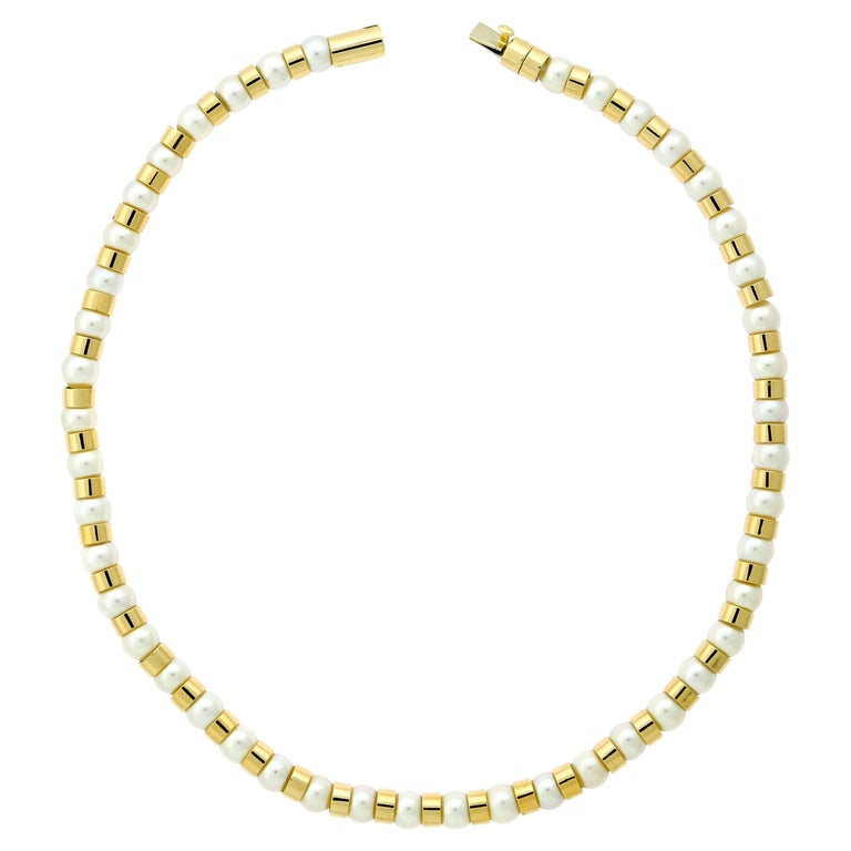 Chanel Pearl Bead Yellow Gold Necklace For Sale