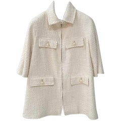 Chanel Pearl Button Zip Front Jacket