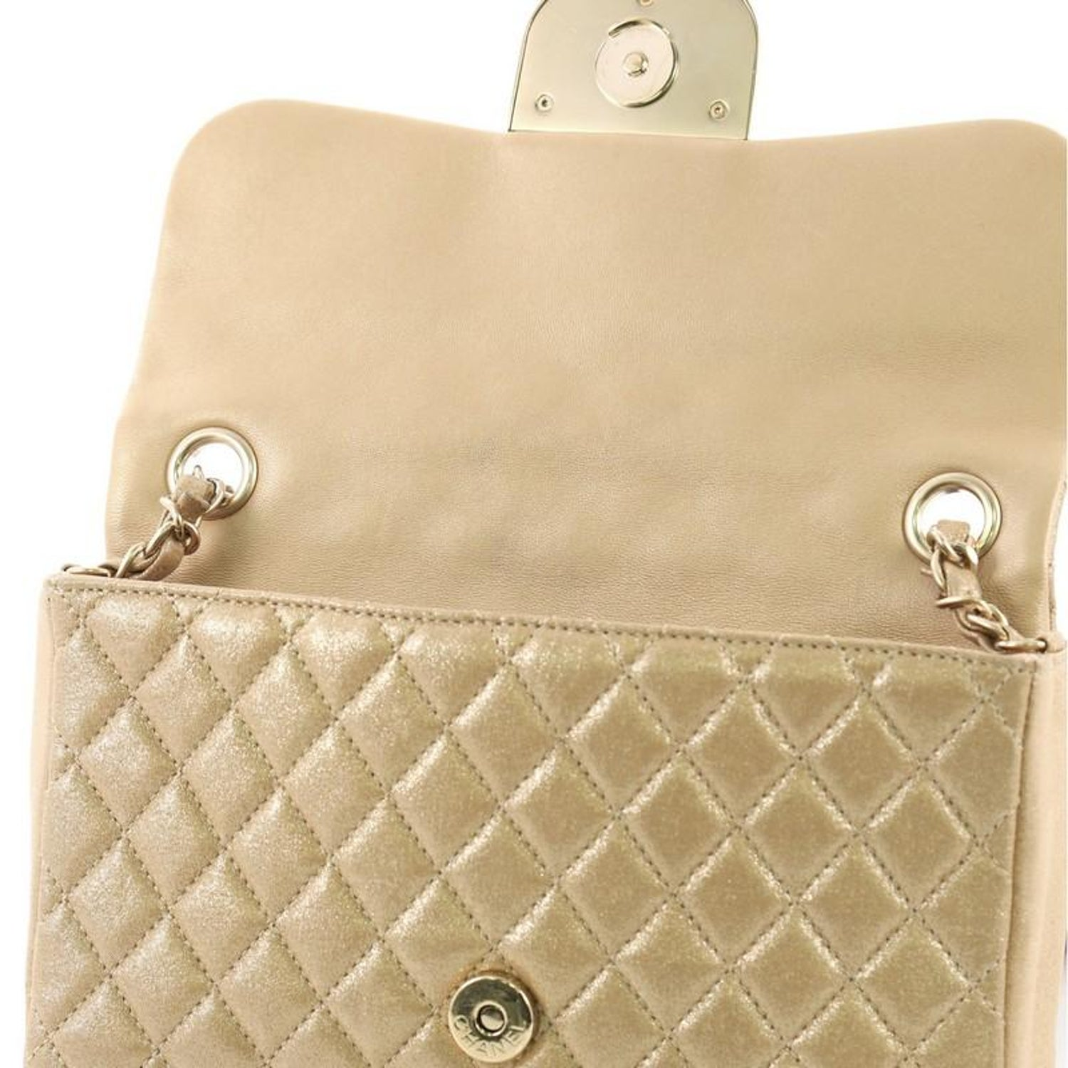 b46eef7498b026 Chanel Pearl CC Crystal Flap Bag Quilted Iridescent Fabric Sma For Sale at  1stdibs