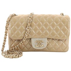 Chanel Pearl CC Crystal Flap Bag Quilted Iridescent Fabric Sma