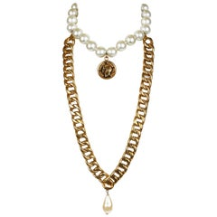 Chanel Pearl Choker with Draped Chain Necklace