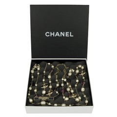 CHANEL Pearl Crystal Gold Long Necklace 2012