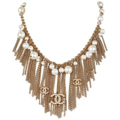 Chanel Pearl Dripping Chains Necklace