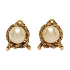 Chanel Pearl Earrings 1980s