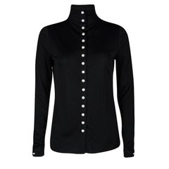 Chanel Pearl Embellished Button Detail Long Sleeve Blouse M