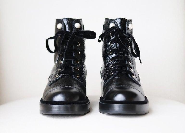 Black Chanel Pearl Embellished Crackled Calfskin Leather Boots  For Sale
