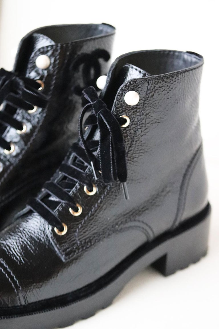 Chanel Pearl Embellished Crackled Calfskin Leather Boots  In New Condition For Sale In London, GB