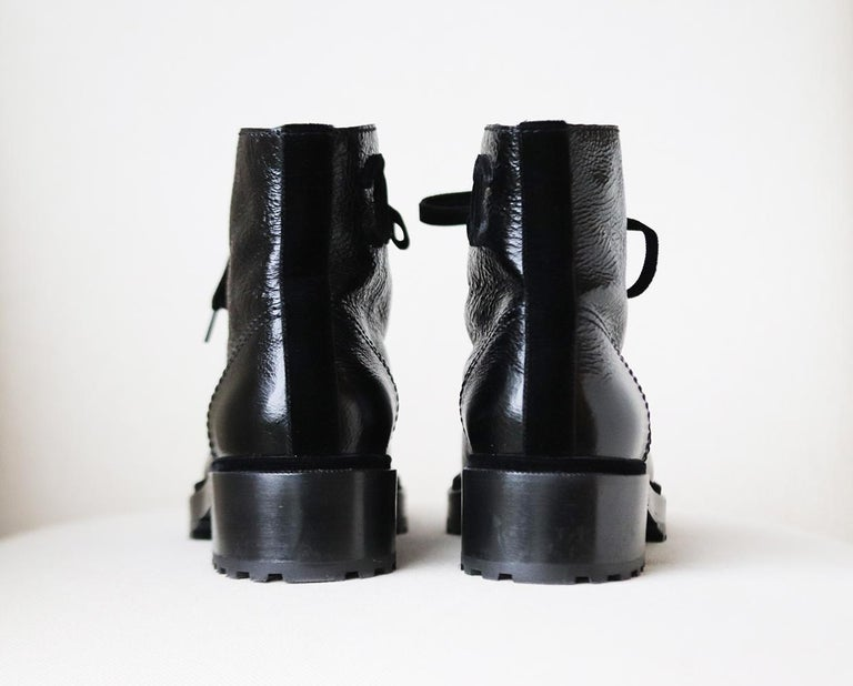 Women's Chanel Pearl Embellished Crackled Calfskin Leather Boots  For Sale