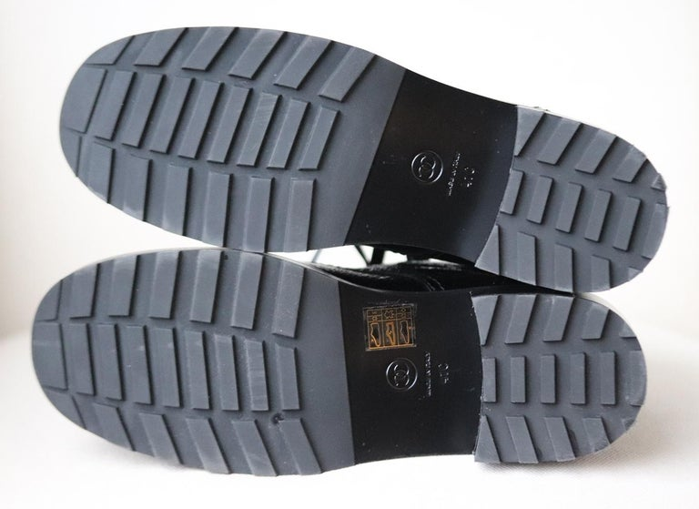 Chanel Pearl Embellished Crackled Calfskin Leather Boots  For Sale 1