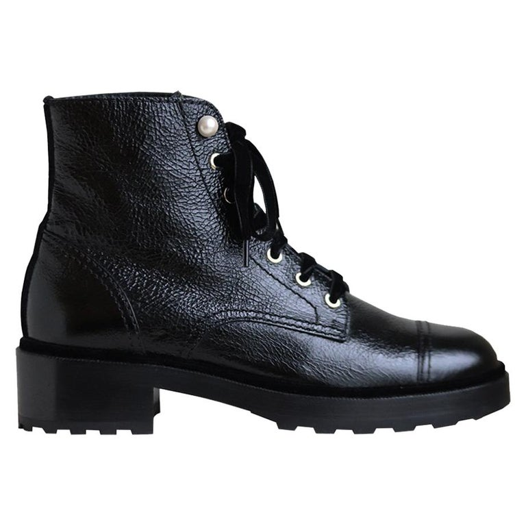 Chanel Pearl Embellished Crackled Calfskin Leather Boots  For Sale
