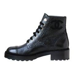 Chanel Pearl Embellished Crackled Calfskin Leather Boots
