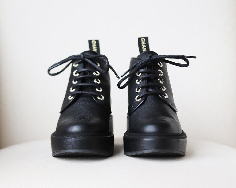Black Chanel Pearl Embellished Grained Calfskin Ankle Boots For Sale