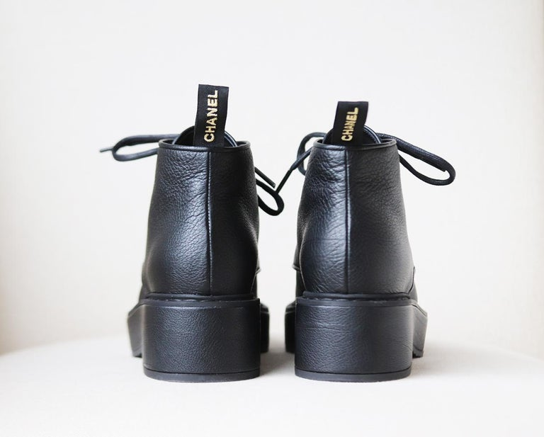 Chanel Pearl Embellished Grained Calfskin Ankle Boots For Sale 1