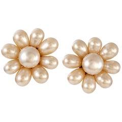 Chanel Pearl Flower Earrings
