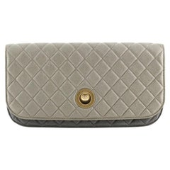 Chanel Pearl Full Flap Clutch Quilted Lambskin