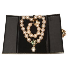 Chanel Pearl Necklace and Bracelet Set with Box