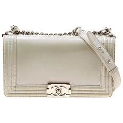 Chanel Pearl Patent Leather Medium Boy Flap Bag