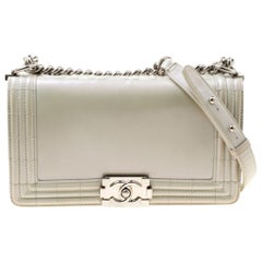Chanel Pearl Patent Leather Medium Boy Flap Bag