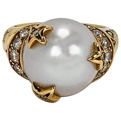Chanel Pearl Ring with Diamond and Gold Stars