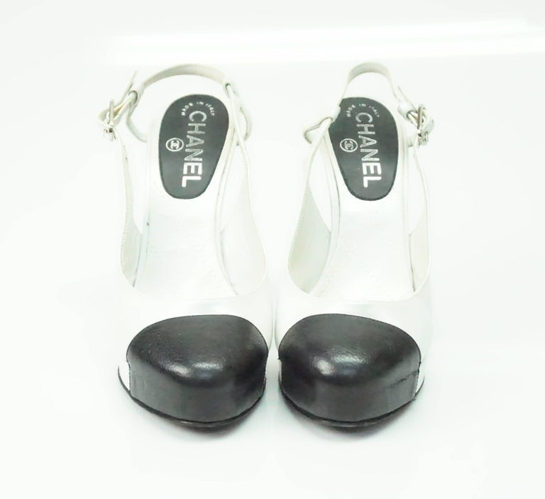 98fcd7c88d0 Gray Chanel Pearl White and Black Toe Slingback Platform with Pearl Detail- 36 For Sale