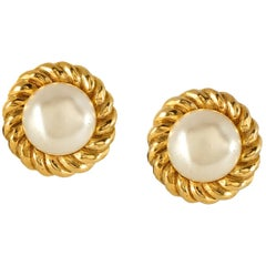 Chanel Pearl with Rope Surround Vintage Earrings