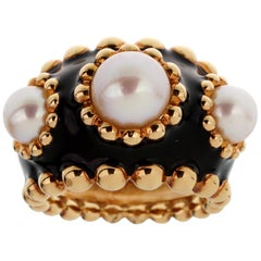 Chanel Pearl Yellow Gold Beaded Cocktail Ring
