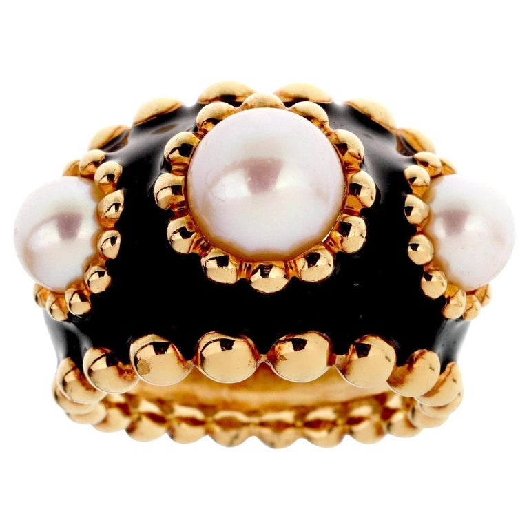 Chanel Pearl Yellow Gold Beaded Cocktail Ring For Sale