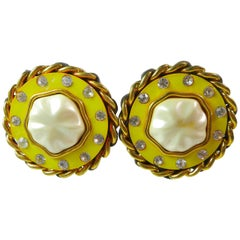 CHANEL Pearl Yellow Rhinestones and Chain Clip-On Earrings