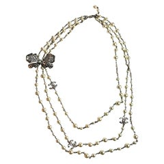 Chanel Pearls And Butterfly Rhinestones Long Necklace