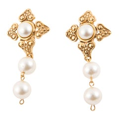Chanel Pearls Clip On Drop Earrings