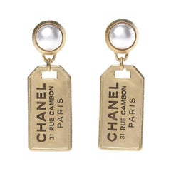 Chanel Peral Gold Tags Drops Earrings
