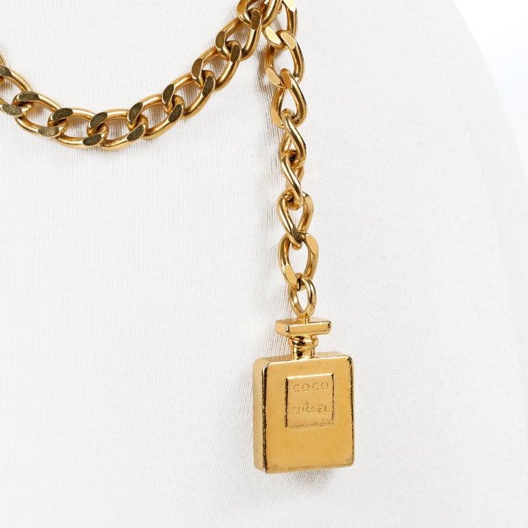 Beige Chanel Perfume Bottle Triple Chain Belt For Sale