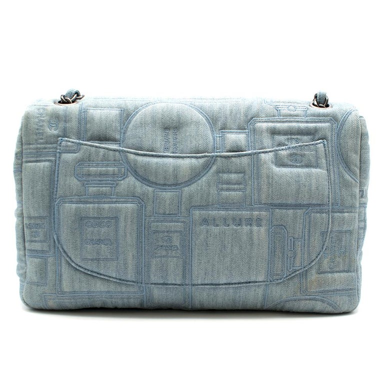 Gray Chanel Perfume Embroidered Denim Flap Bag