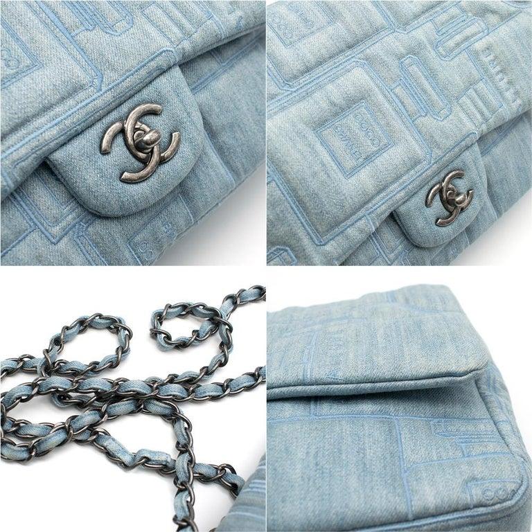 Chanel Perfume Embroidered Denim Flap Bag 2