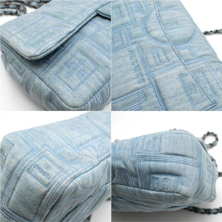 Chanel Perfume Embroidered Denim Flap Bag 3