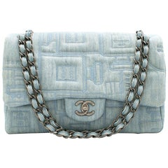 Chanel Perfume Embroidered Denim Flap Bag