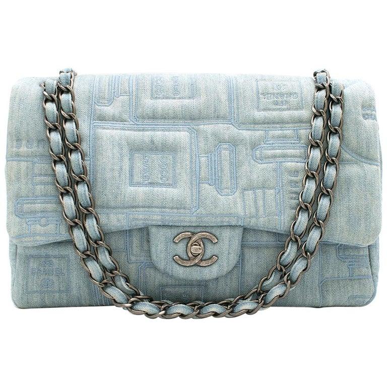 Chanel Perfume Embroidered Denim Flap Bag