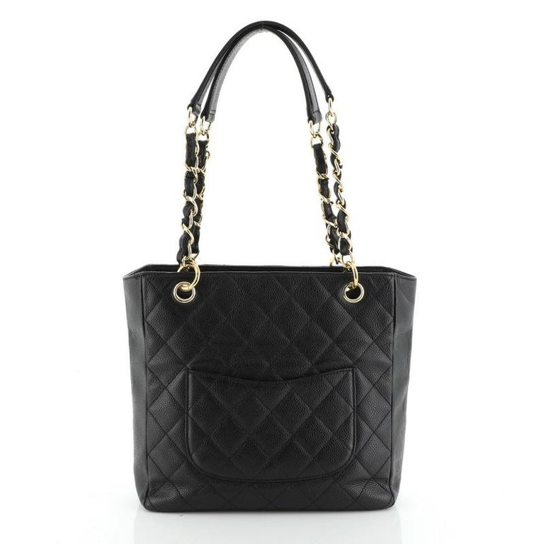 Chanel Petite Shopping Tote Quilted Caviar In Good Condition In New York, NY