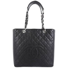 Chanel Petite Shopping Tote Quilted Caviar Large